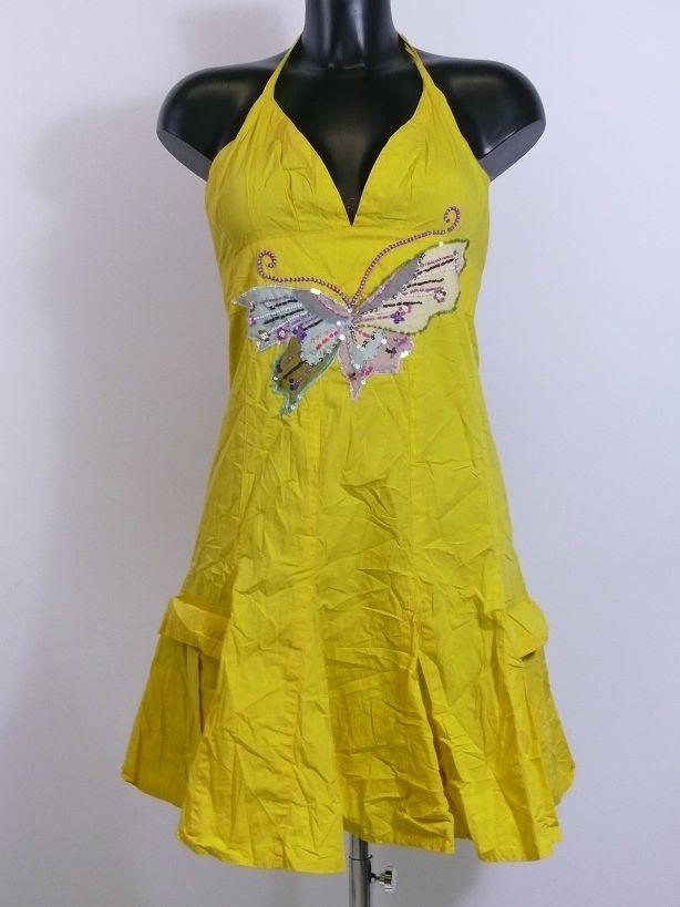 Neu Desigual Neckholder sexy Kleid gelb Schmetterling Gr ...